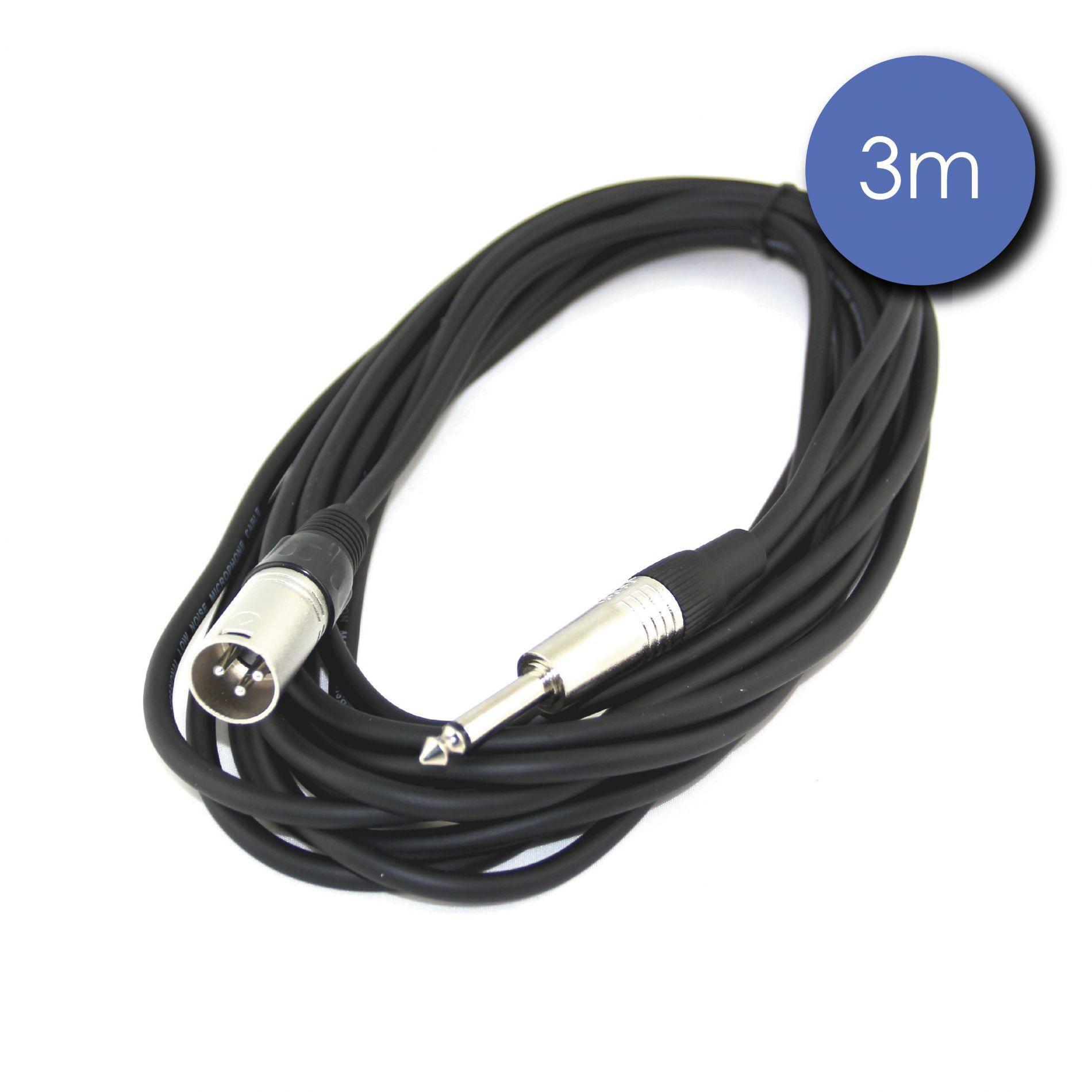 Câble 3m - JACK MONO Mâle - XLR 3 PIN Mâle