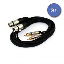 Câble 3m - XLR 3 PIN Femelle - RCA Mâle