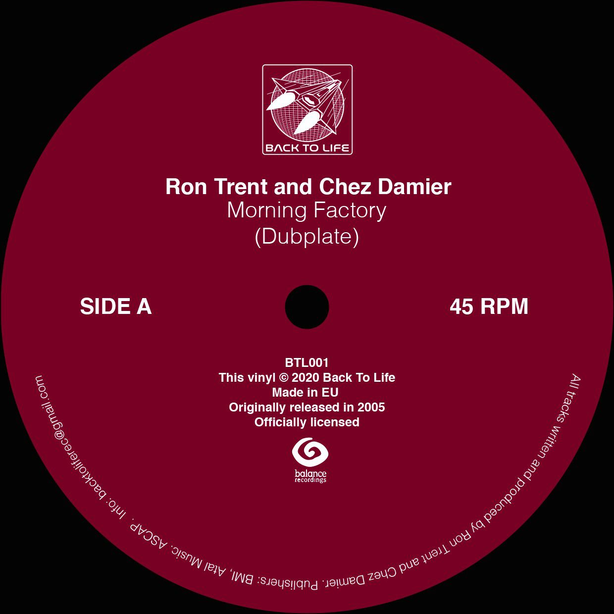 Ron Trent and Chez Damier - Morning Factory (Dubplate) Colored Vinyl