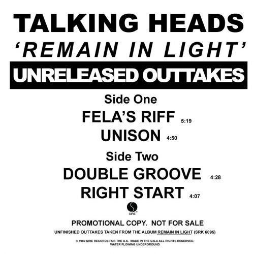 Talking Heads - Remain In Light Unreleased Outtakes